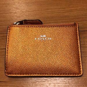 NWT Coach metallic tangerine cardholder/wallet